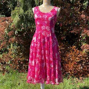 J Peterman Hot Pink Floral Sleeveless Dress